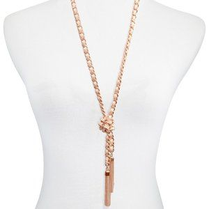 Guess woven rose gold tassel lariat necklace